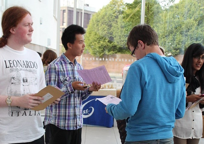 A-Level students getting their results